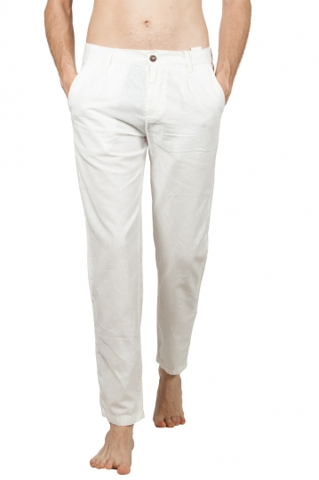 Men's linen-blend pants white
