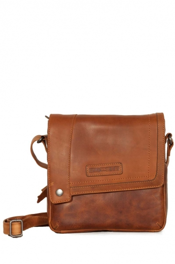 Hill Burry men's cross body flapover leather bag brown