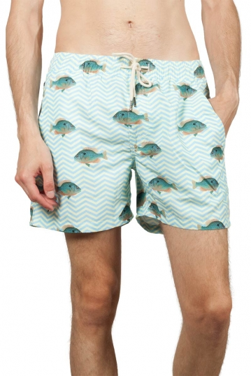 OAS Blue fish men's swim shorts