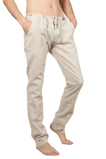 Petrol men's linen-blend pants ecru
