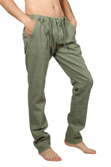 Petrol men's linen-blend pants khaki green
