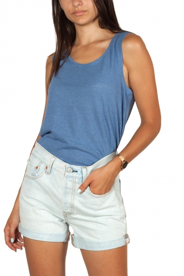 Artlove cotton-linen blend tank top blue