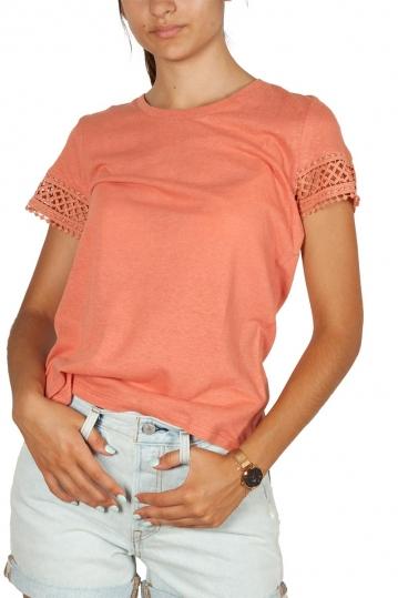 Artlove μπλούζα με κροσέ λεπτομέρεια τερακότα