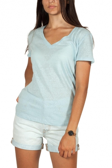 Artlove cotton-linen blend V-neck top light blue