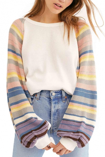 Free People Rainbow dreams knit sweater white with striped sleeves