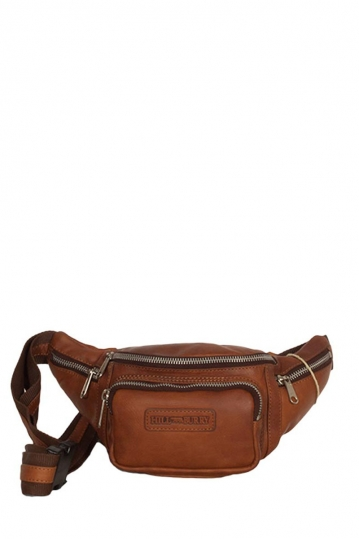 Hill Burry leather hip pack brown with metal zippers