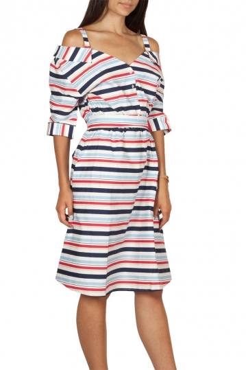 Migle + me cold shoulder striped dress with 3/4 sleeves