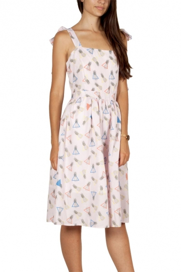 Migle + me pineapple print strap dress pink