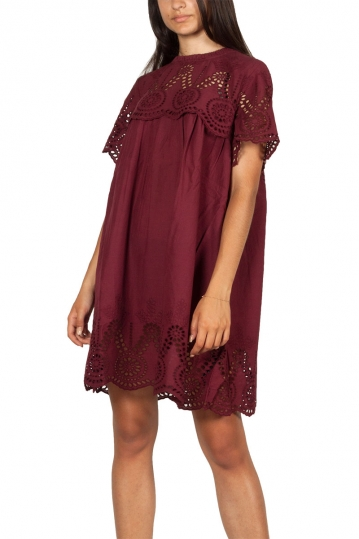 Minimum Flores eyelet mini dress wine