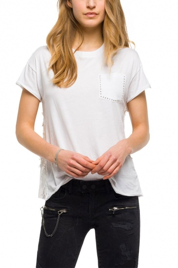 Replay T-shirt with lace back and chest pocket