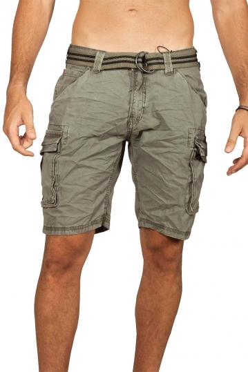 Stitch & Soul cargo shorts stone washed khaki green