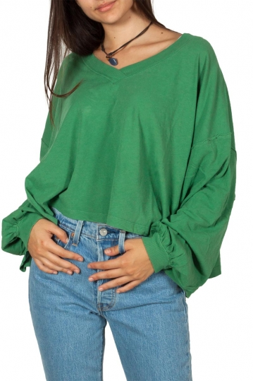 Free People Buffy V-neck long sleeve tee green