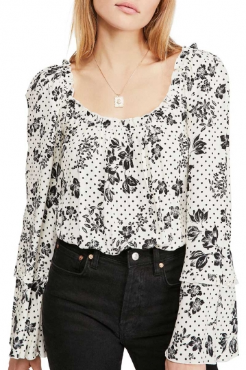 Free People One on one date bodysuit floral
