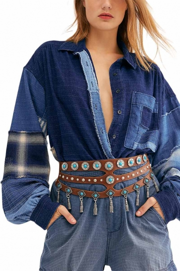 Free People indigo sky chambray shirt
