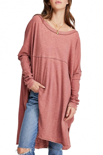 Free People Tell Tale oversized tunic wine