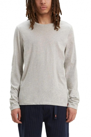 Levi's® Long sleeve slim fit crew neck tee heather grey