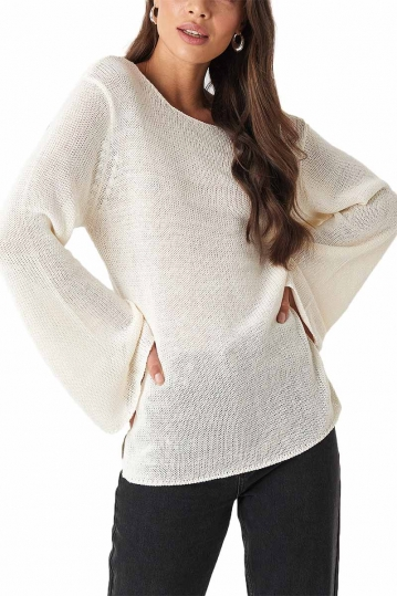 Rut & Circle Vanessa open back knit sweater off white