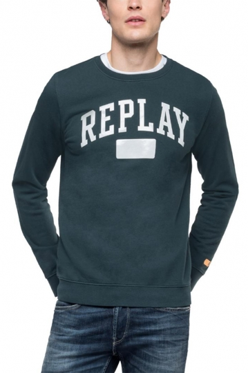 Replay crewneck sweatshirt dark green