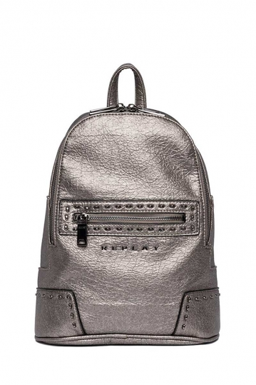 Replay backpack in crinkle eco-leather steel grey