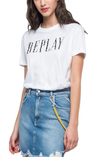Replay crewneck t-shirt with writing white