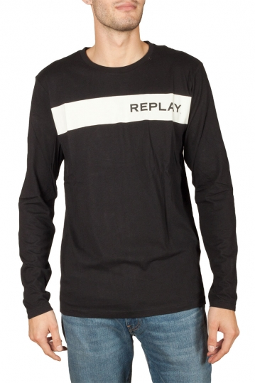 Replay long sleeved logo t-shirt black