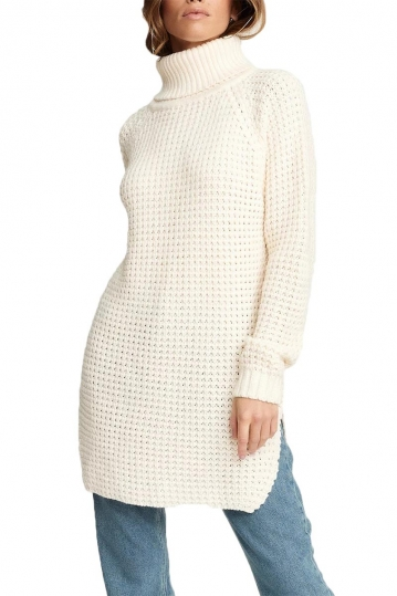Rut & Circle Samira roll neck longline jumper off white