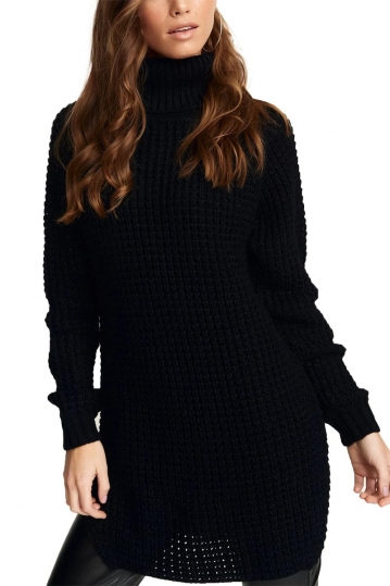 Rut & Circle Samira roll neck longline jumper black