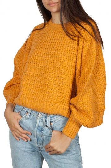 Rut & Circle Siri balloon sleeve knit yellow saffron