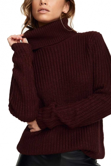 Rut & Circle Tinelle roll neck knit sweater burgundy