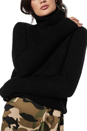 Rut & Circle Tinelle roll neck knit sweater black