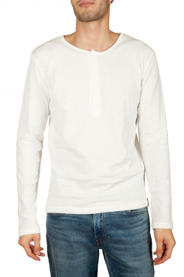 Bigbong ribbed long sleeve Henley tee white
