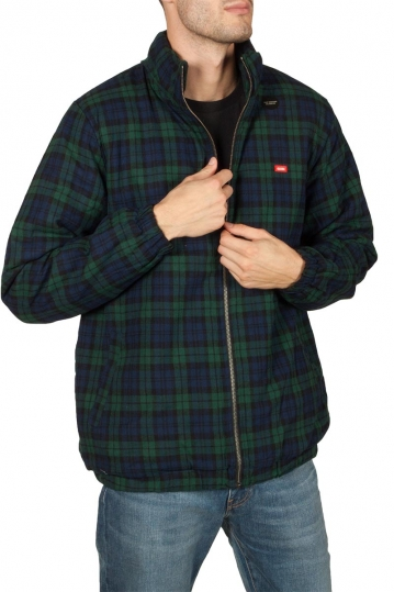 Globe Splicer plaid jacket argon blue