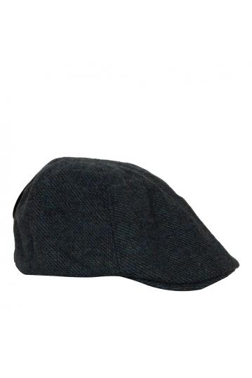 Wool flat cap in blue tweed