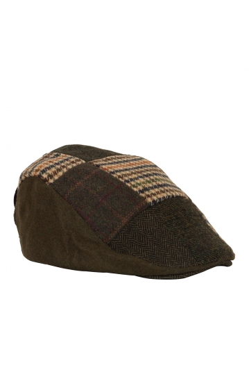 Patchwork wool flat cap olive-beige