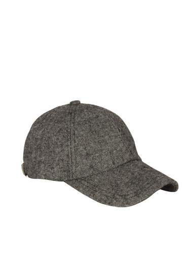 Wool baseball cap tweed grey