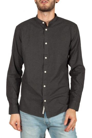 Minimum Anholt Mao collar shirt carbon melange