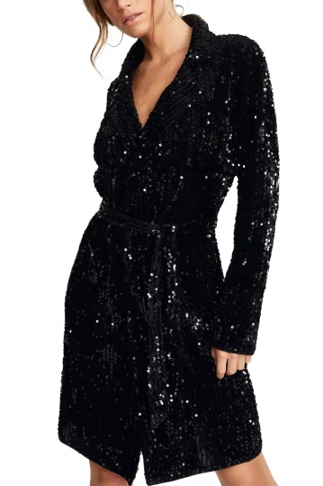 Rut & Circle Nea wrap dress black sequins