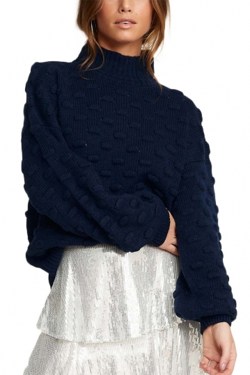 Rut & Circle Liza Jacquard sweater navy