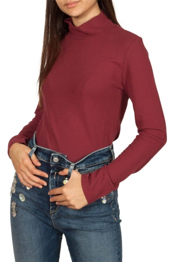 Thinking Ellen waffle long sleeve turtleneck top bordeaux