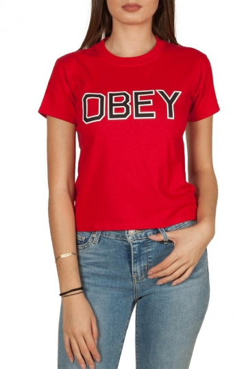 Obey Tough shrunken t-shirt red