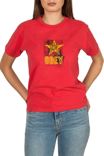 Obey with caution box tee tomato