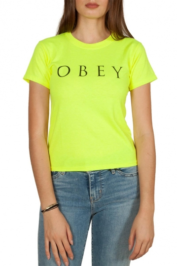 Obey Novel 2 shrunken t-shirt safety green