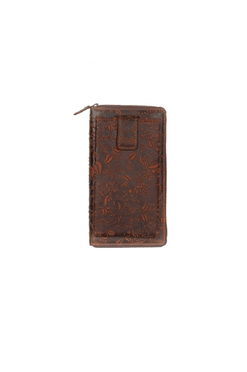 Hill Burry leather clutch wallet brown embossed