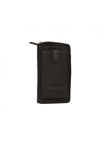 Hill Burry RFID leather clutch wallet black
