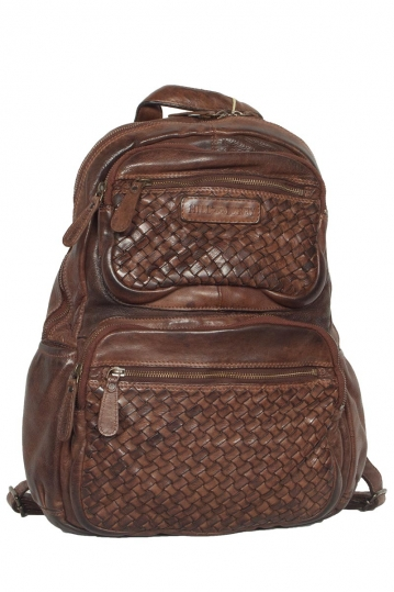 Hill Burry leather backpack vintage dark brown