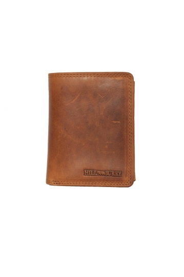 Hill Burry men's leather vertical wallet RFID brown