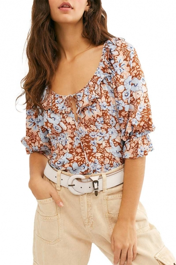 Free People Sweet memories blouse rust combo