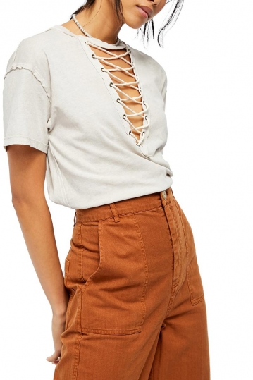 Free People Azalea lace-up t-shirt oat