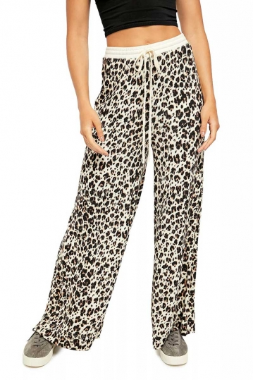 Free People wide leg pants leopard