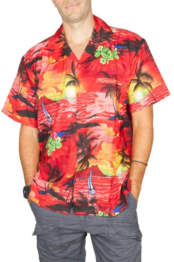 Hawaiian shirt Sailor red